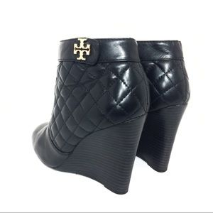 a63937461 Tory Burch Shoes - Tory Burch Leila Quilted Leather Wedge Booties